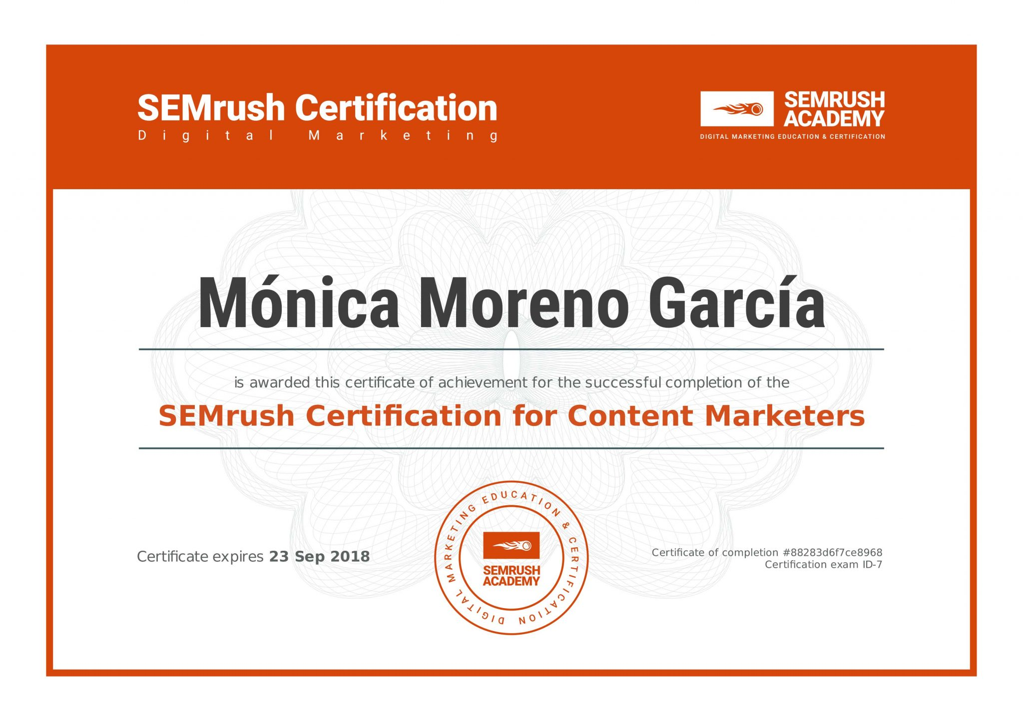 SEMrush - Certification for Content Marketers - Posicionamiento Web - SEO - Utrera (Sevilla)