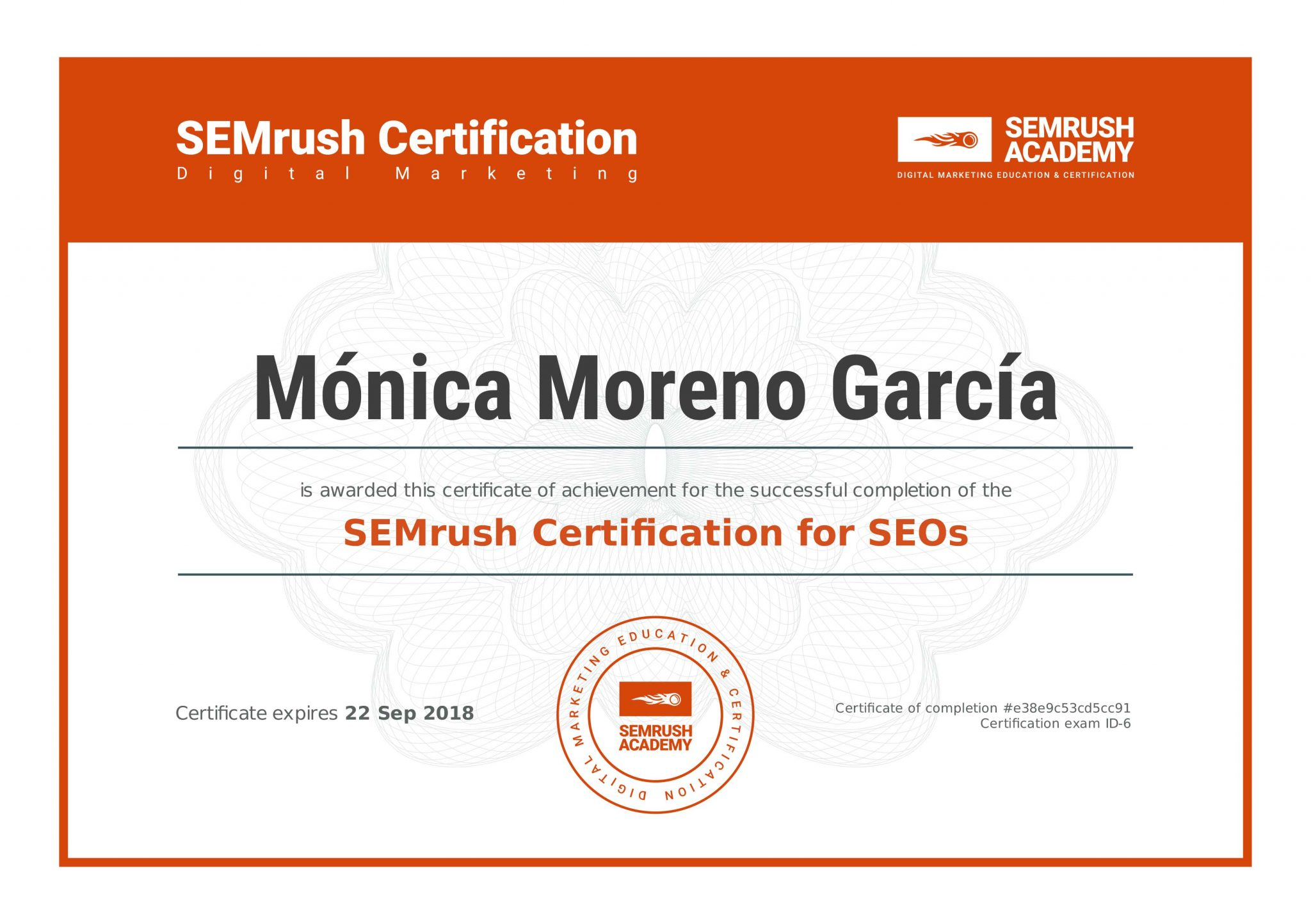 SEMrush - Certification for SEOs - Posicionamiento Web - SEO - Utrera (Sevilla)