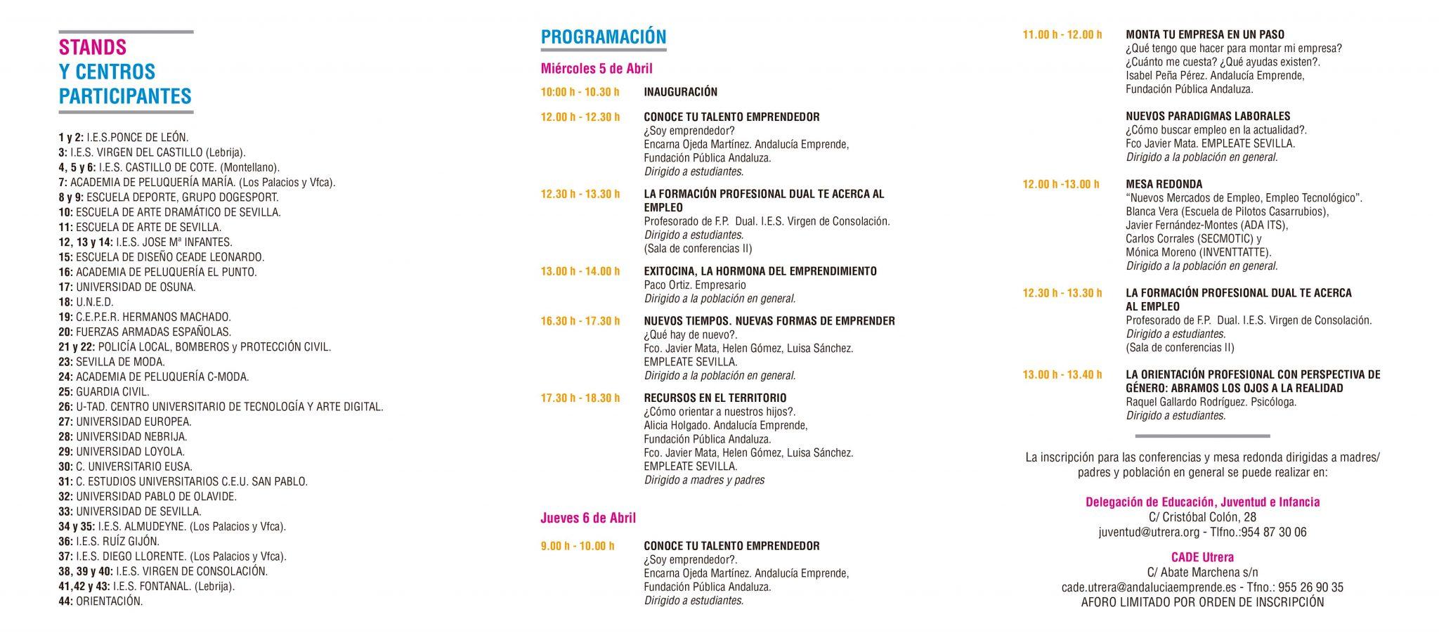 Jornadas de Orientacion academica profesional - Programacion Interior - Utrera Sevilla